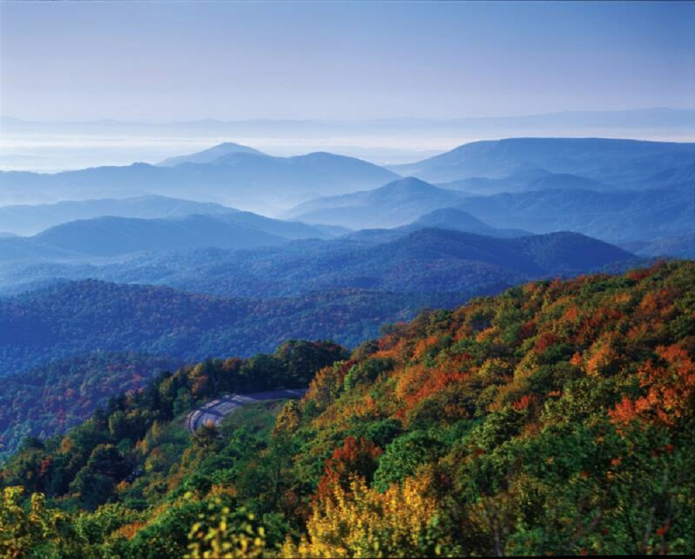 scenic view of mountains and trees in fall color